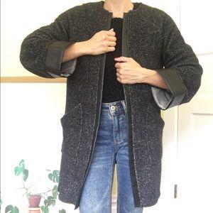 Structured, Super Soft Zara Sweater w Leather Trim